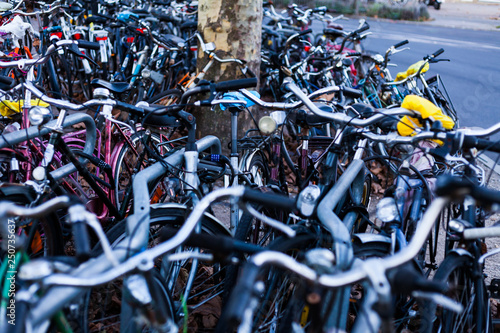 Türaufkleber Fahrrad Big bicycle parking with lot of bicycles. Sport concept with bicycle. Pile of bikes in the street