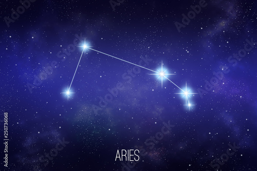 Photo Aries zodiac constellation on a starry space background with lettering