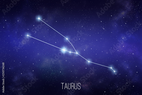 Carta da parati Taurus zodiac constellation on a starry space background with lettering