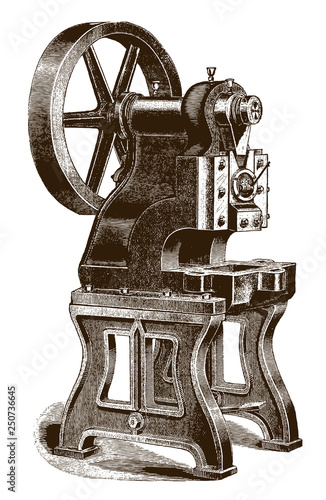 Photo  Historic punching and forming press machine (after an engraving or etching from
