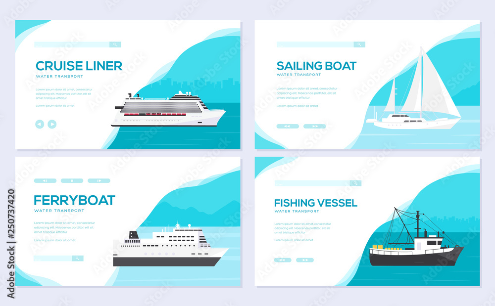 Fototapety, obrazy: Set of yacht, boat, cargo ship, steamship, ferry, fishing boat, tug, bulk carrier, vessel, pleasure boat, cruise ship. Vector brochure card template of flyear, web banner, ui header, enter site slider
