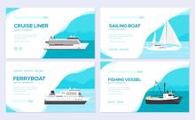 Set Of Yacht, Boat, Cargo Ship...