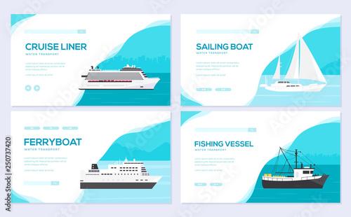 Fotografia  Set of yacht, boat, cargo ship, steamship, ferry, fishing boat, tug, bulk carrier, vessel, pleasure boat, cruise ship