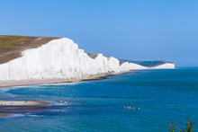 White Cliffs Of Dover Background Image. Beautiful Sunny Day On White Cliffs Of Dover In Great Britain