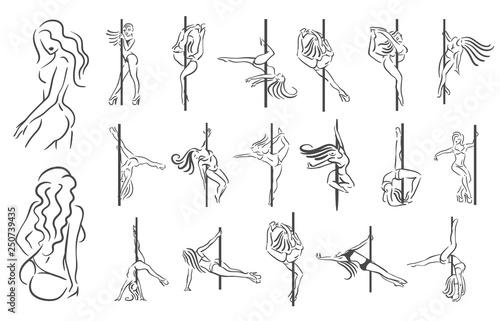 Fotografie, Obraz  Vector illustration concept of striptease girl