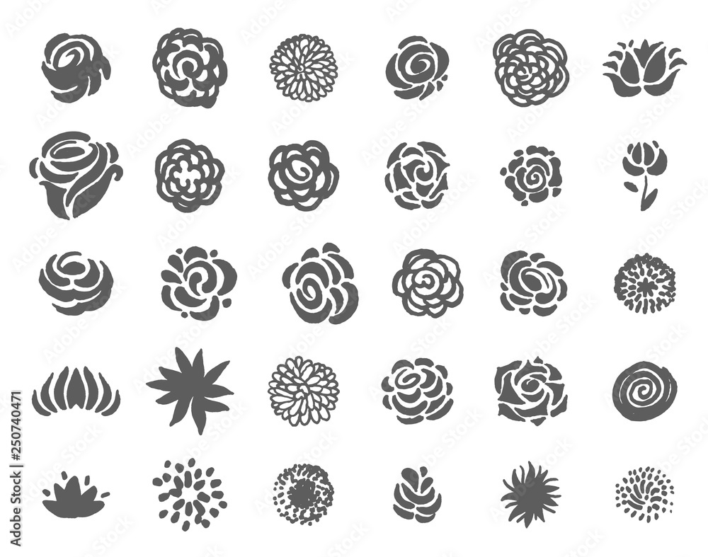 Fototapety, obrazy: Vector Hand drawn sketch of flower symbols illustration on white background