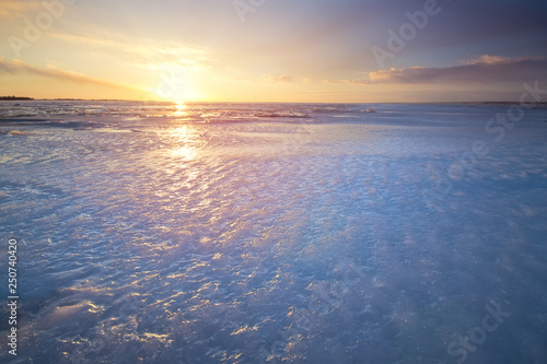Foto op Canvas Zee zonsondergang a bright winter morning landscape natural patterns that never cease to amaze are in the right fashion foot