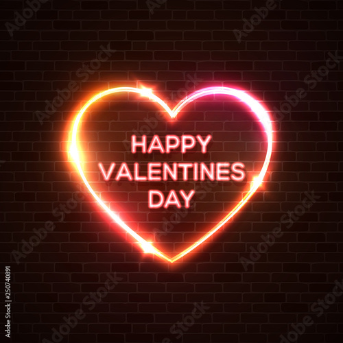 Happy Valentine's Day neon background  Romantic color card