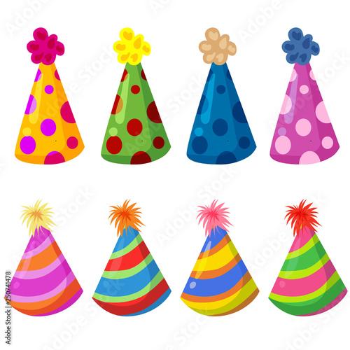 Printed kitchen splashbacks Indians colorful birthday hat party element set