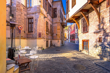 Picturesque narrow street and buildings in the old town of Xanthi, Greece.