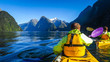 canvas print picture - Milford Sound by kayak and boat cruise in New-Zealand