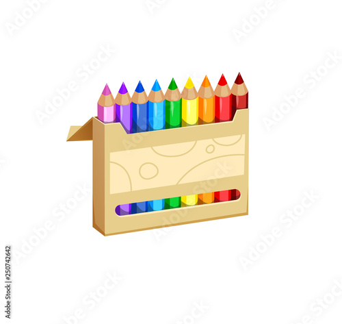 Fotografia vector illustration of colored pencils in the open box