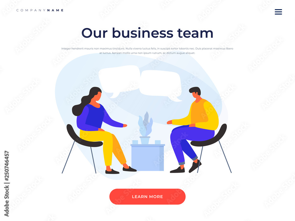 Fototapeta People discuss strategy of doing business, joint project. Concept of communication, discussion of news. Meeting of business people. Landing page for stylish website. Vector flat cartoon illustration.
