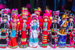 Leinwanddruck Bild - Colorful tribal dolls for sale to the tourist as the souvenir at the local market in Chiang Rai, the northern part of Thailand.