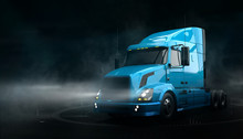 Modern Blue Semi Truck On Dark...
