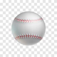 Realistic Leather Baseball Ball Isolated On Transparent Background. Sports Equipment For American Team Game On Grass Field Vector Illustration. Sport Competition And Outdoors Activity 3d Object.