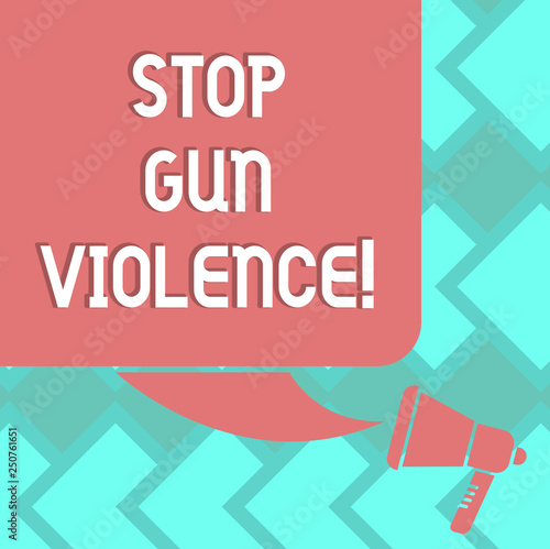 Text sign showing Stop Gun Violence. Conceptual photo danger made committed with use of gun firearm or small arm Color Silhouette of Blank Square Speech Bubble and Megaphone photo Wall mural