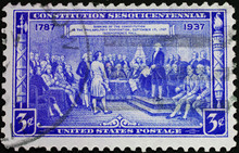 United States Postage Stamp Commemorating The Constitution Signed In Philadelphia In 1787
