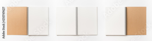 Fototapeta  Business concept - Top view collection of  spiral kraft notebook front, back and