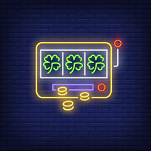 Slot Machine With Three Clover Leaves Neon Sign