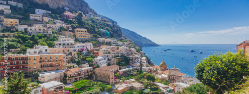 Montage in der Fensternische Cappuccino Houses and coastline from the town of Positano, along the Amalfi Coast, Italy