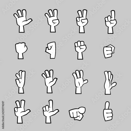 16 Cartoon Hand Poses And Gestures Buy This Stock Vector And Explore Similar Vectors At Adobe Stock Adobe Stock