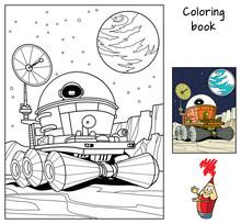 Moon Rover With An Astronaut. Coloring Book. Cartoon Vector Illustration