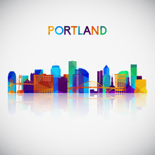 Portland Skyline Silhouette In Colorful Geometric Style. Symbol For Your Design. Vector Illustration.