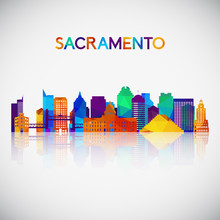 Sacramento Skyline Silhouette In Colorful Geometric Style. Symbol For Your Design. Vector Illustration.