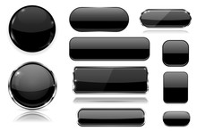 Black Glass Buttons. Collection Of 3d Icons