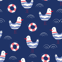 Whimsical And Cute Nautical Hand-Drawn With Crayons, Lifebuoys And Seagulls Vector Seamless Pattern For Kids And Babies