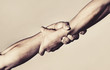 canvas print picture - Two hands, helping hand of a friend. Handshake, arms, friendship. Friendly handshake, friends greeting, teamwork, friendship. Rescue, helping gesture or hands. Strong hold. Close-up. Black and white