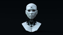 Cyborg With Blue Neutral Lighting  Front 3d Illustration 3d Render