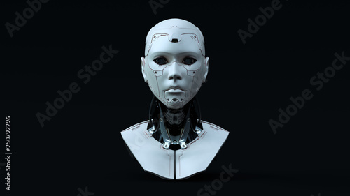 Photo Cyborg with Blue Neutral lighting  Front 3d illustration 3d render