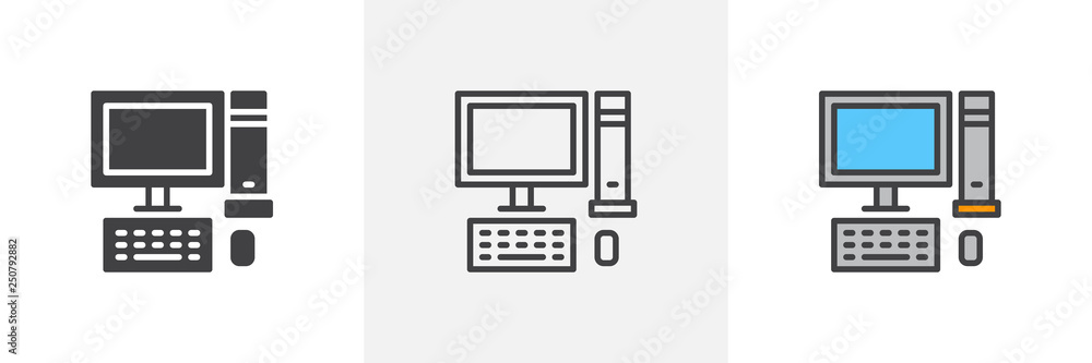 Fototapeta Desktop computer icon. Line, glyph and filled outline colorful version, Pc computer with monitor, keyboard and mouse outline and filled vector sign. Symbol logo illustration. Different style icons set