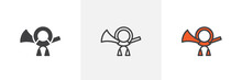 Post Horn Icon. Line, Glyph An...