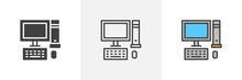 Desktop Computer Icon. Line, Glyph And Filled Outline Colorful Version, Pc Computer With Monitor, Keyboard And Mouse Outline And Filled Vector Sign. Symbol Logo Illustration. Different Style Icons Set