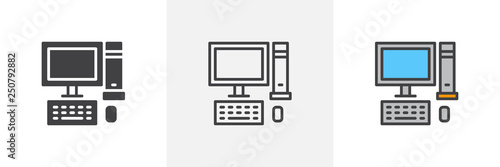 Obraz Desktop computer icon. Line, glyph and filled outline colorful version, Pc computer with monitor, keyboard and mouse outline and filled vector sign. Symbol logo illustration. Different style icons set - fototapety do salonu