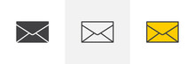 Envelope Mail Icon. Line, Glyph And Filled Outline Colorful Version, Post Envelope Outline And Filled Vector Sign. Message, Mail Symbol, Logo Illustration. Different Style Icons Set. Pixel Perfect