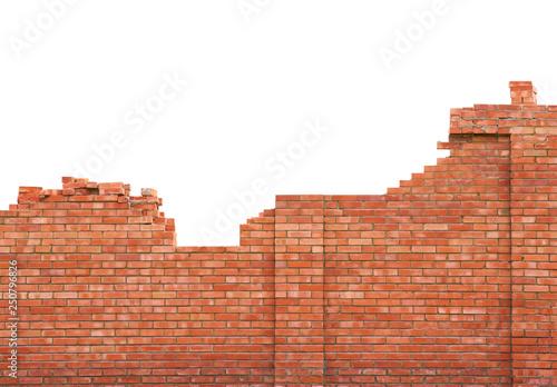 Leinwand Poster Brick wall under construction on white background