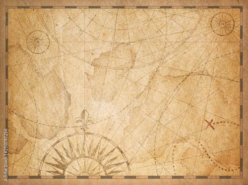 Cuadros en Lienzo old nautical hidden treasure map background