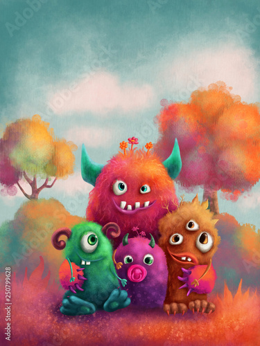 Monster family Wallpaper Mural