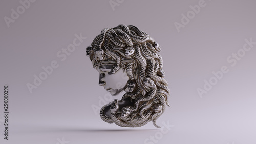 Antique Silver Medusa Bas Relief 3d illustration 3d render Canvas Print