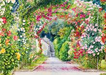 Flower Garden. Watercolor Bota...
