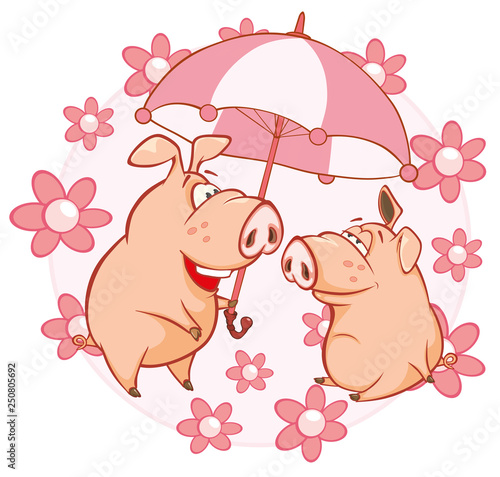 In de dag Babykamer Vector Illustration of a Cute Pig. Cartoon Character