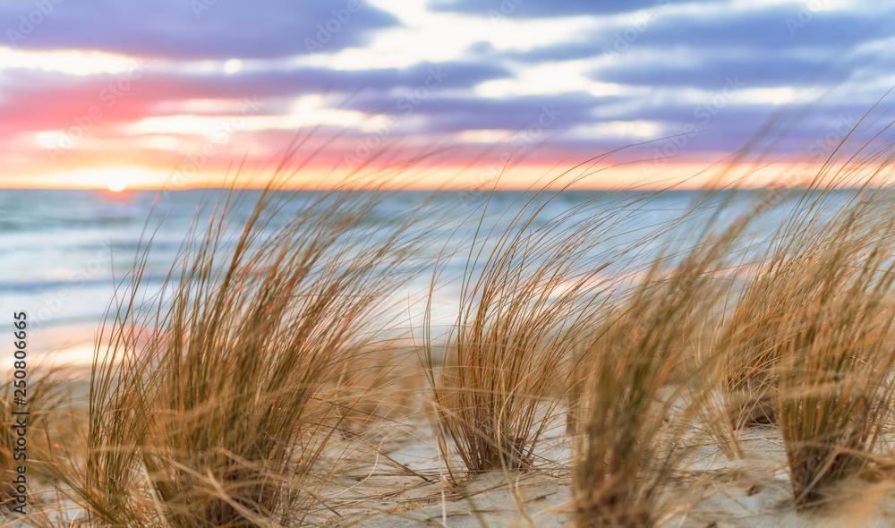 Fototapety, obrazy: Sonnenaufgang am Sand Strand auf Rügen bei Lobbe
