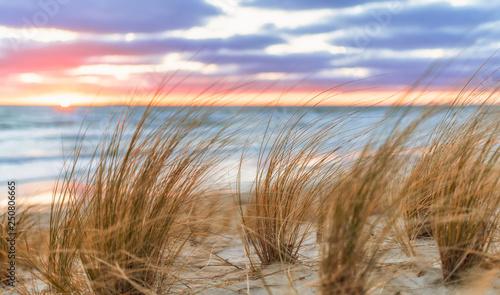 Photo sur Aluminium Mer coucher du soleil Sonnenaufgang am Sand Strand auf Rügen bei Lobbe