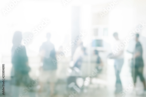 Obraz Blurred business people meeting in office interior with space for business brainstorming background design - fototapety do salonu