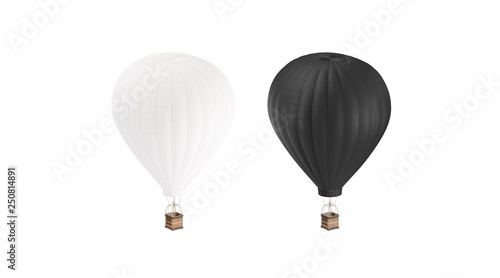 Blank black and white balloon with hot air mockup set, isolated, 3d rendering. Empty airship with gasbag mock up. Clear ballon for adventure or expedition. Transportation on large dirigible template.