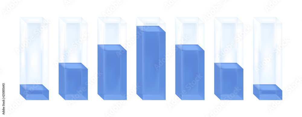 Fototapety, obrazy: Vector statistical illustration of histogram. Glass columns with blue liquid characterizing the normal distribution or Gaussian distribution. Percentage increase and decrease. Isolated on white.